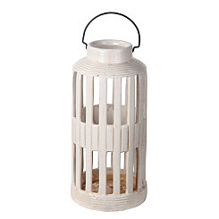 White Barred Ceramic Lantern, 15.5 in.