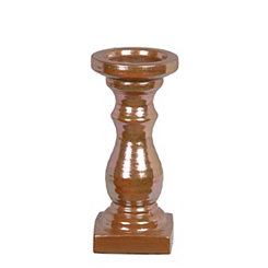 Brown Ceramic Candlestick, 10.5 in.