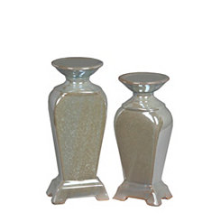 Opulent Pearl Rounded Candle Holders, Set of 2