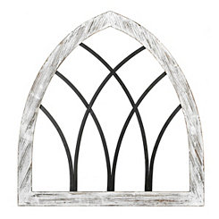 Weathered White Cathedral Arch Wall Plaque
