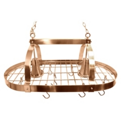 Copper Hanging Pot Rack with Lights