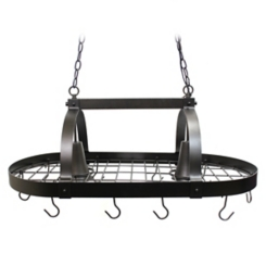 Bronze Hanging Pot Rack with Lights