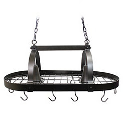 Bronze Hanging Pot Rack with Lights