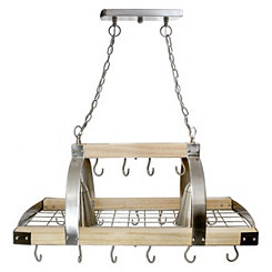 Wood and Metal Hanging Pot Rack with Lights