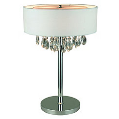 Cascading Crystal White Shade Table Lamp