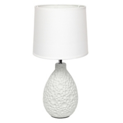 White Oval Stucco Ceramic Table Lamp