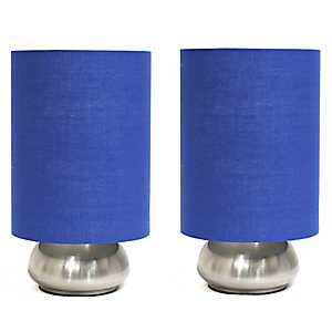 Mini Nickel and Blue Gemini Touch Lamps, Set of 2