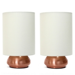 Mini Copper and Cream Gemini Touch Lamps, Set of 2