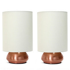Mini Copper and Cream Gemini Touch Lamps, Set of 2
