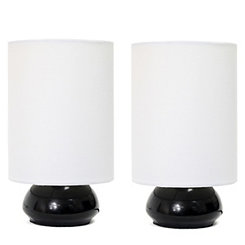 Mini Black and White Gemini Touch Lamps, Set of 2