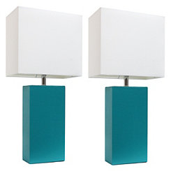 Teal Modern Leather Table Lamps, Set of 2
