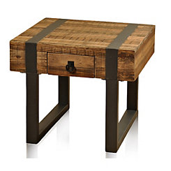 Fir Wood Side Table with Forged Metal Legs