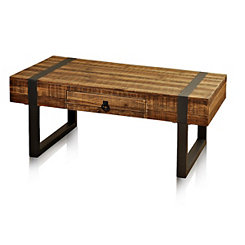 Fir Wood Coffee Table with Forged Metal Legs