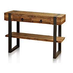 Fir Wood Console Table with Forged Metal Legs