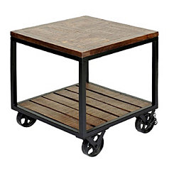 Industrial Trolley Wheel Side Table