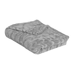 Gray Embossed Arrow Plush Blanket