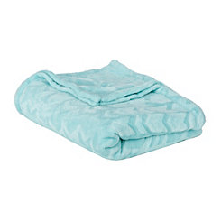 Blue Embossed Arrow Plush Blanket