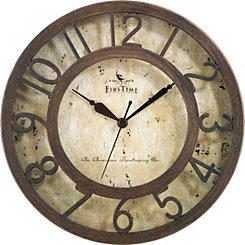 Brown Raised Numeral Wall Clock