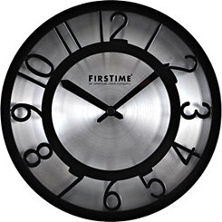 Black On Steel Wall Clock