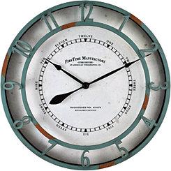 Timeworn Aqua Wall Clock