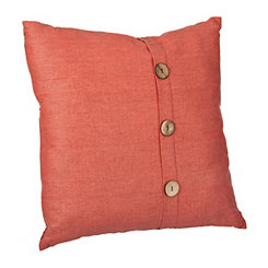 Rust Orange Buttoned Linen Pillow