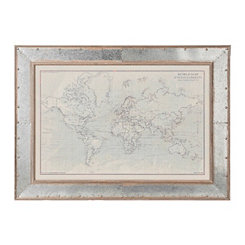 Ocean Current World Map Framed Art Print