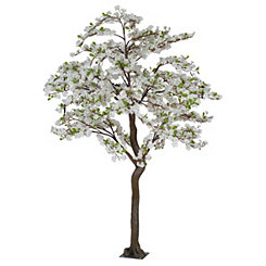 White Faux Apple Blossom Tree, 7 ft.