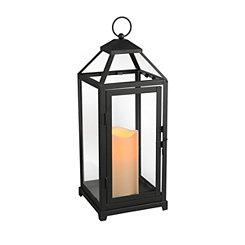 Pre-Lit Black Open Lantern
