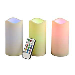 Bisque LED Multicolor Pillar Candles, Set of 3