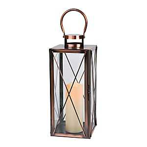 Pre-Lit Rectangle Copper Lantern