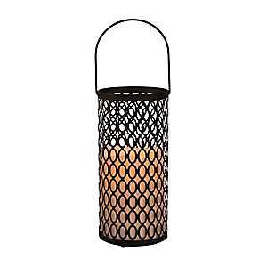Pre-Lit Black Cutout Oval Lantern