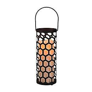 Pre-Lit Black Cutout Honeycomb Lantern