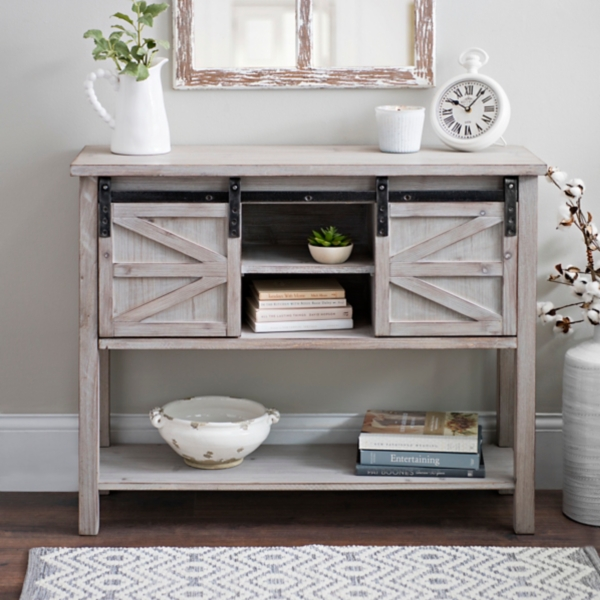 Exceptional Sliding Door Farmhouse Console Table