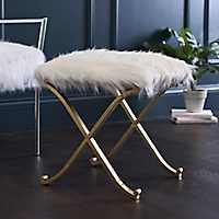 White Fur and Gold Ottoman