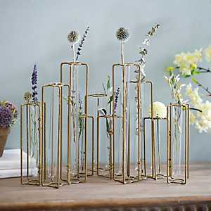 Gold Metal Test Tube Vase Runner