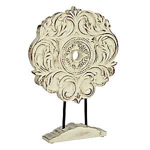 Distressed Ivory Swirl Finial