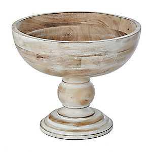 Whitewashed Wood Pedestal Bowl