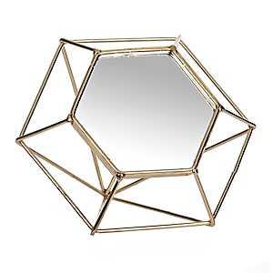 Gold Diamond Wire Decorative Table Mirror