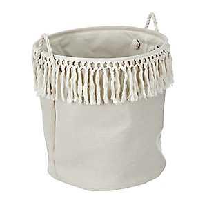 Cream Linen Bin With Fringe