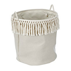 Cream Linen Bin With Fringe