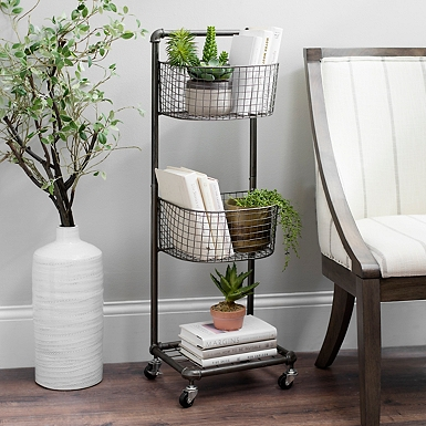 2 tier rolling basket stand - Decorative Items For Home