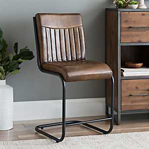 Leather and Tubular Steel Aviator Bar Stool