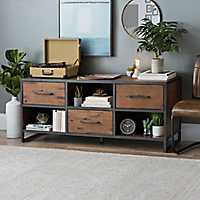 Acacia Wood and Steel Media Cabinet