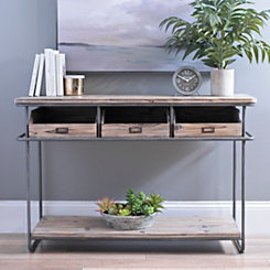 Rustic Industrial 3-Drawer Console Table