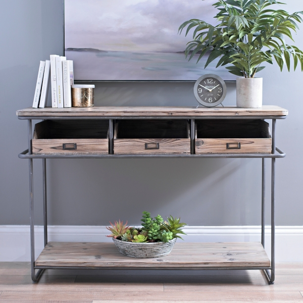 Rustic Industrial 3 Drawer Console Table