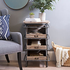 Rustic Industrial 3-Drawer Side Table