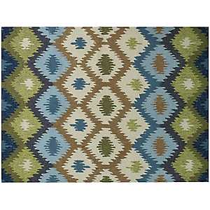 Blue Honeycomb Piazza Outdoor Rug, 5x8