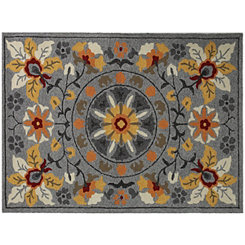 Silver Floral Piazza Outdoor Rug, 5x8