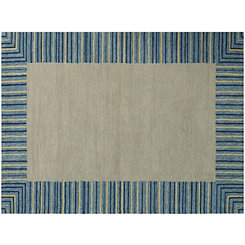 Blue Squared Piazza Outdoor Rug, 5x8