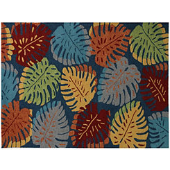 Blue Leaf Piazza Outdoor Rug, 5x8